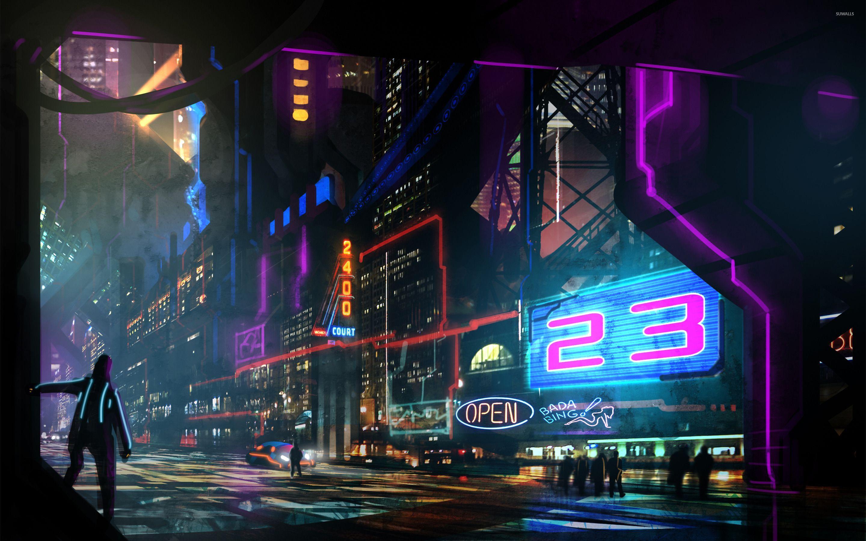 Download Neon City Wallpaper Hd Backgrounds Download Itlcat