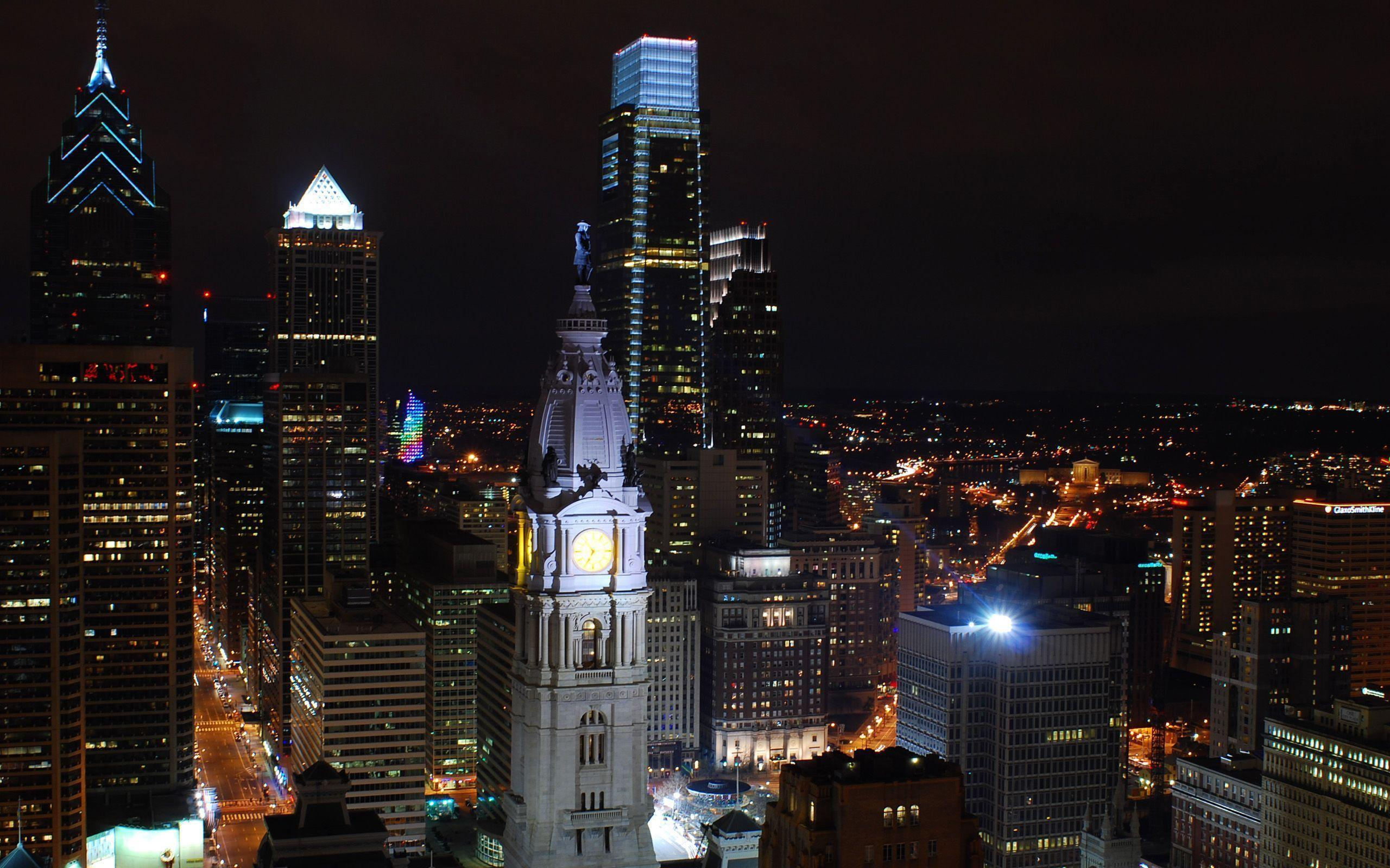 Download Philadelphia Skyline At Night Wallpaper Hd