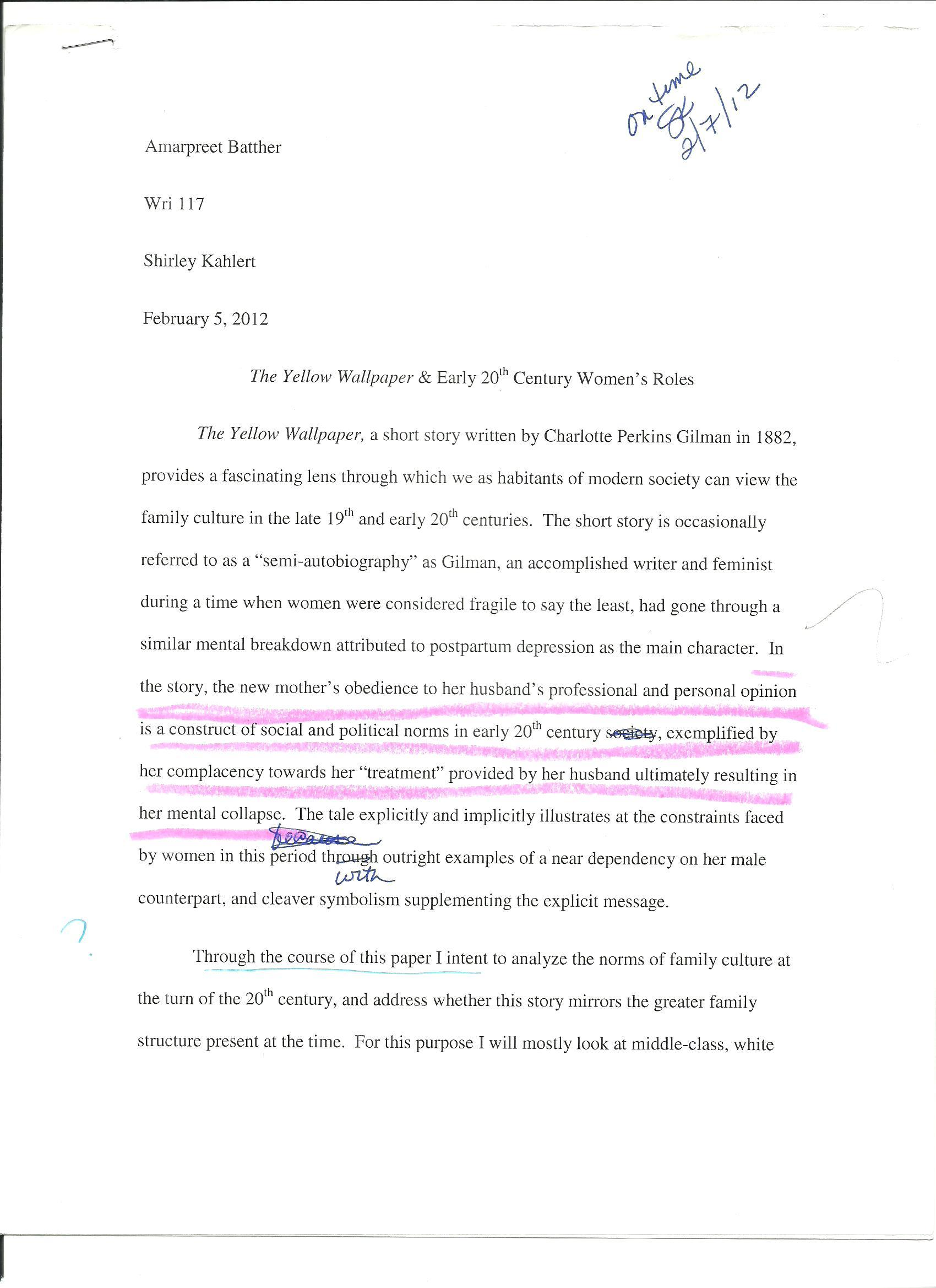Apa Format Essay Example Paper  Examples Of Essays For High School also Research Papers Examples Essays Download The Yellow Wallpaper Conclusion Hd Backgrounds  Examples Of Autobiography Essay