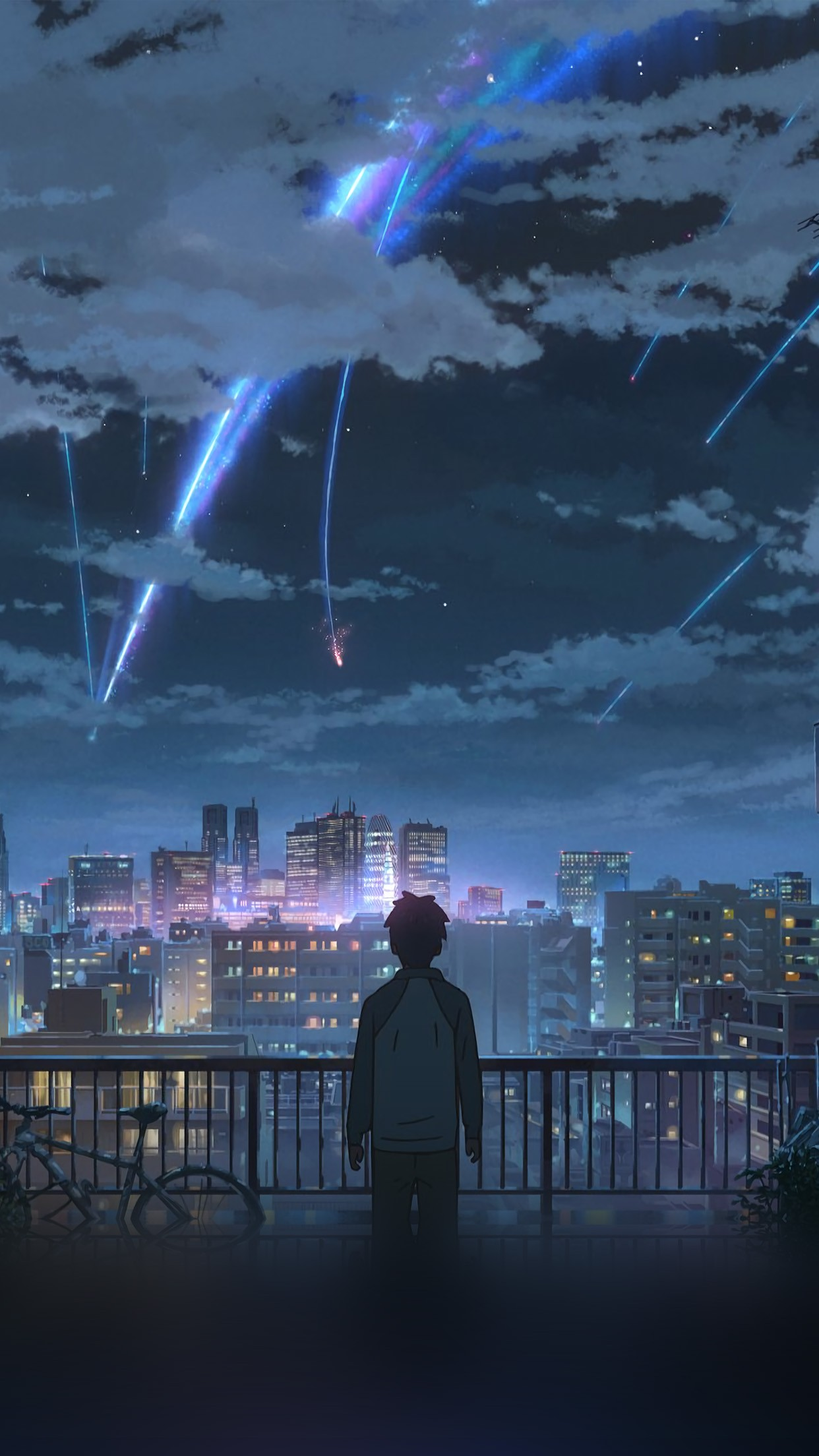 Wallpaper Android Hd Yourname Night Anime Sky Illustration - Anime Wallpaper Iphone X , HD Wallpaper & Backgrounds