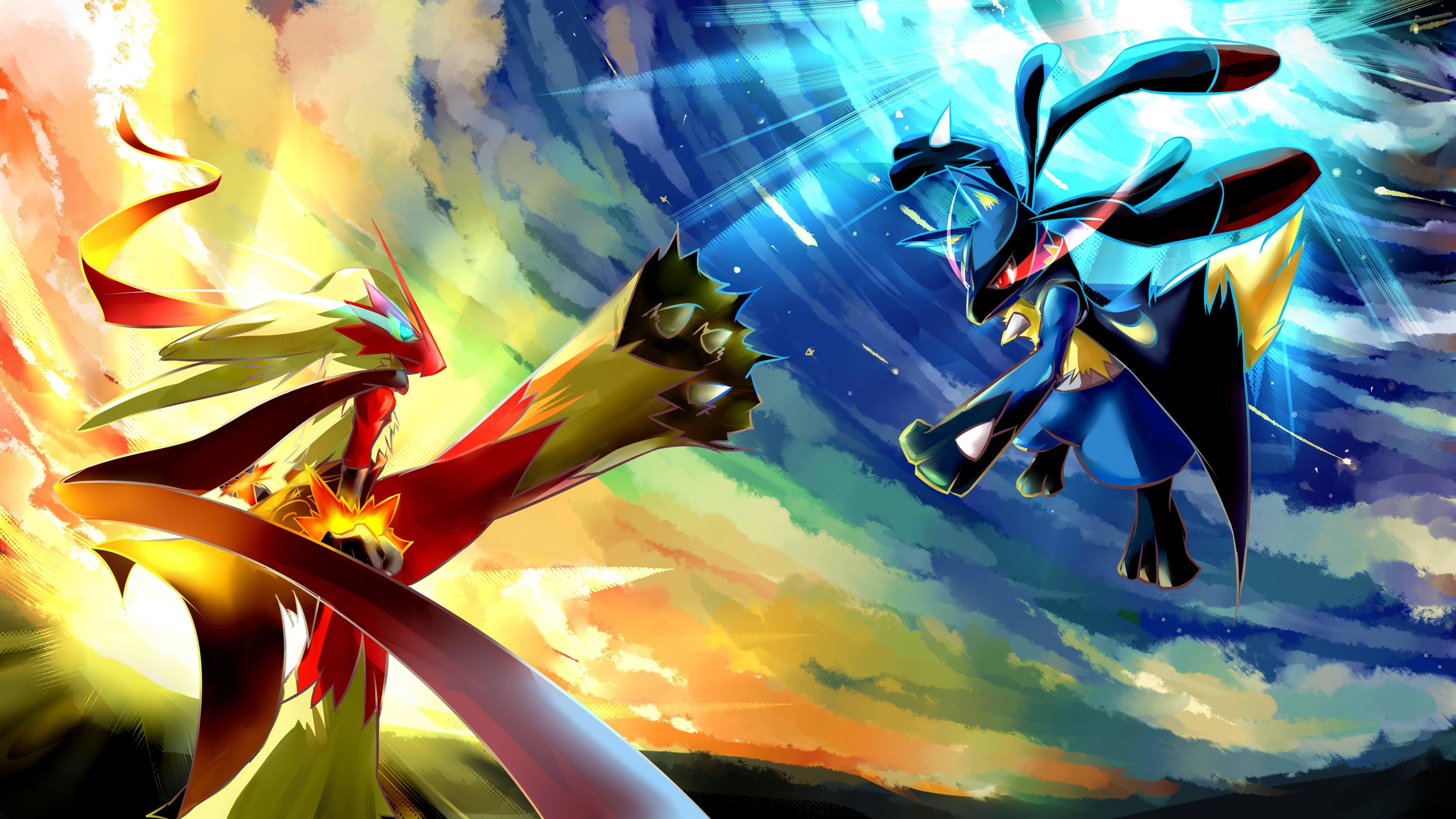 Lucario Vs Brasegali - Pokemon Wallpaper Hd , HD Wallpaper & Backgrounds