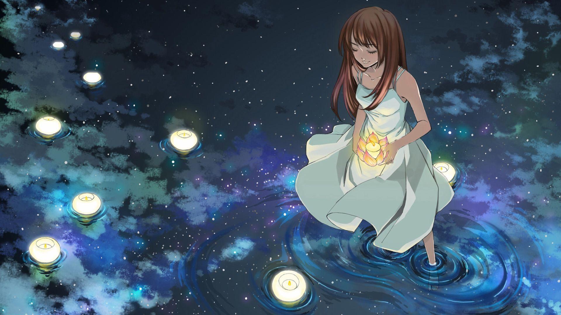 Firefly Summer Beautiful Anime Wallpaper - Beautiful Anime Wallpaper Night , HD Wallpaper & Backgrounds