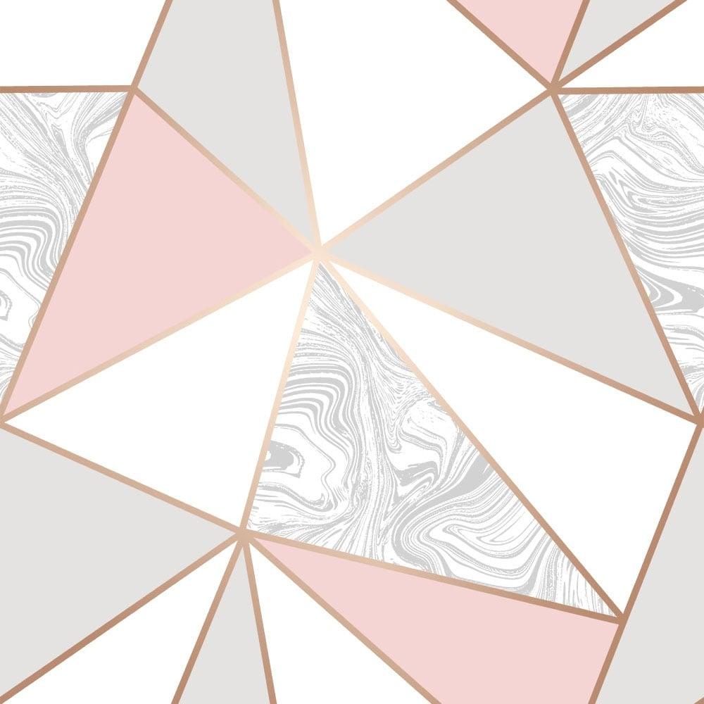 Zara Marble Metallic Wallpaper Soft Pink Rose Gold Rose Gold