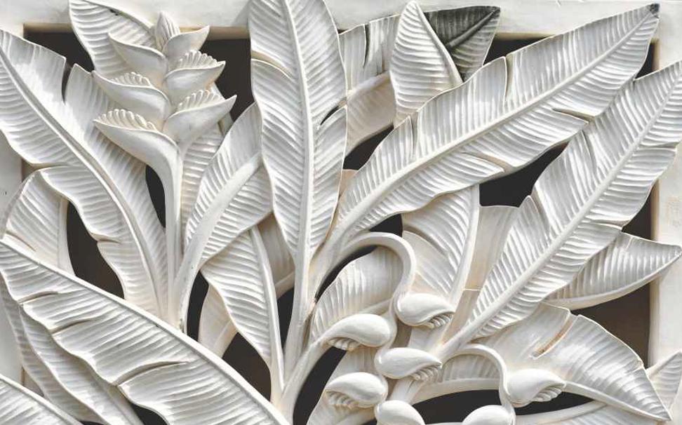 Leaves Sculpture 3d Wallpaper - 3 D Wall Paper , HD Wallpaper & Backgrounds