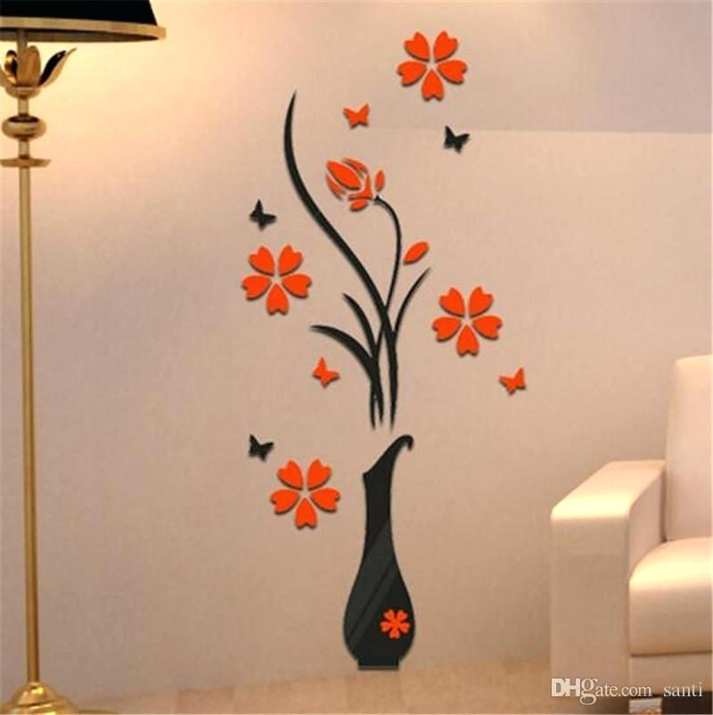 1 13229 3d wallpaper sticker vase flower tree wall stickers