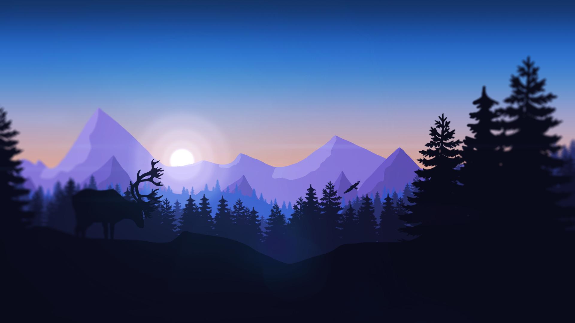 Mountains Forest Animals Firewatch Minimalism Wallpapers - Minimalist Forest , HD Wallpaper & Backgrounds