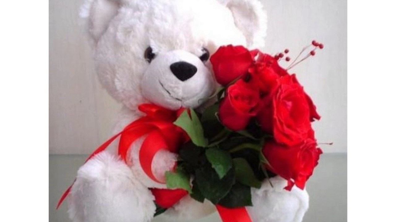 I Love You Messages Images, Flowers, Pictures, Hd, - Toy Bear With Rose , HD Wallpaper & Backgrounds