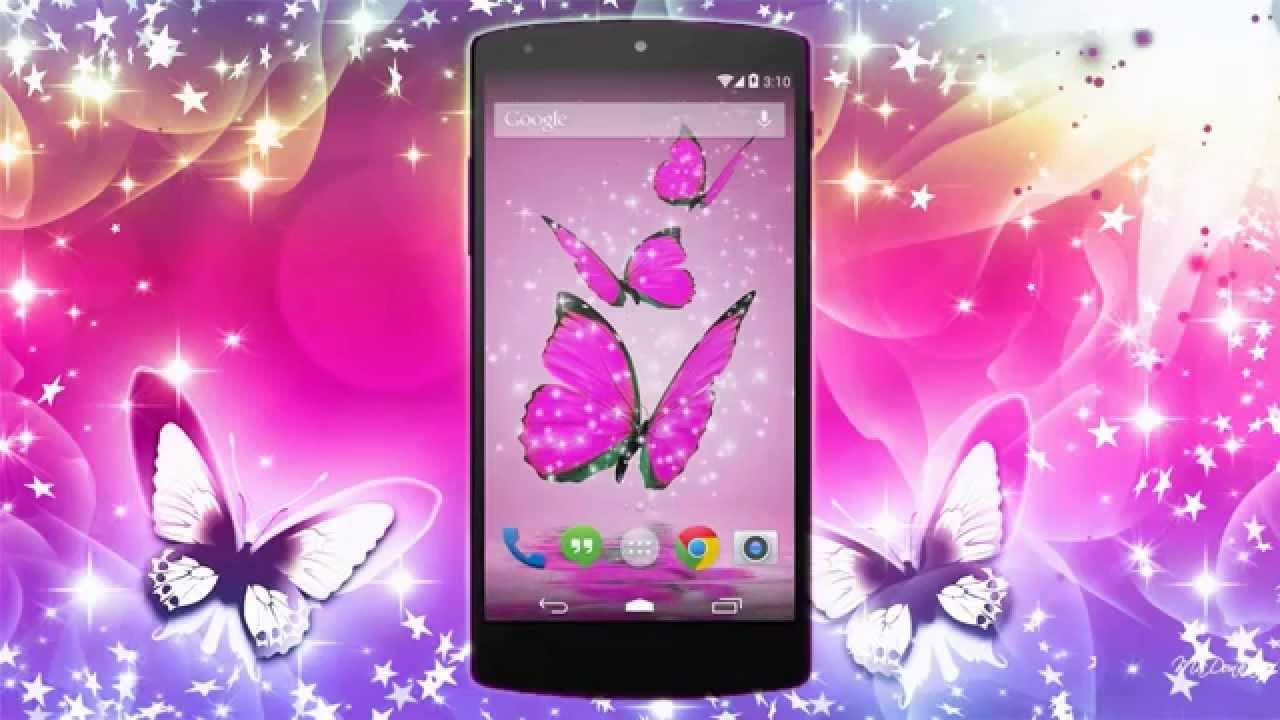 Watch Wallpaper Pink Live New Pink Glitter Live Butterfly - Smartphone , HD Wallpaper & Backgrounds