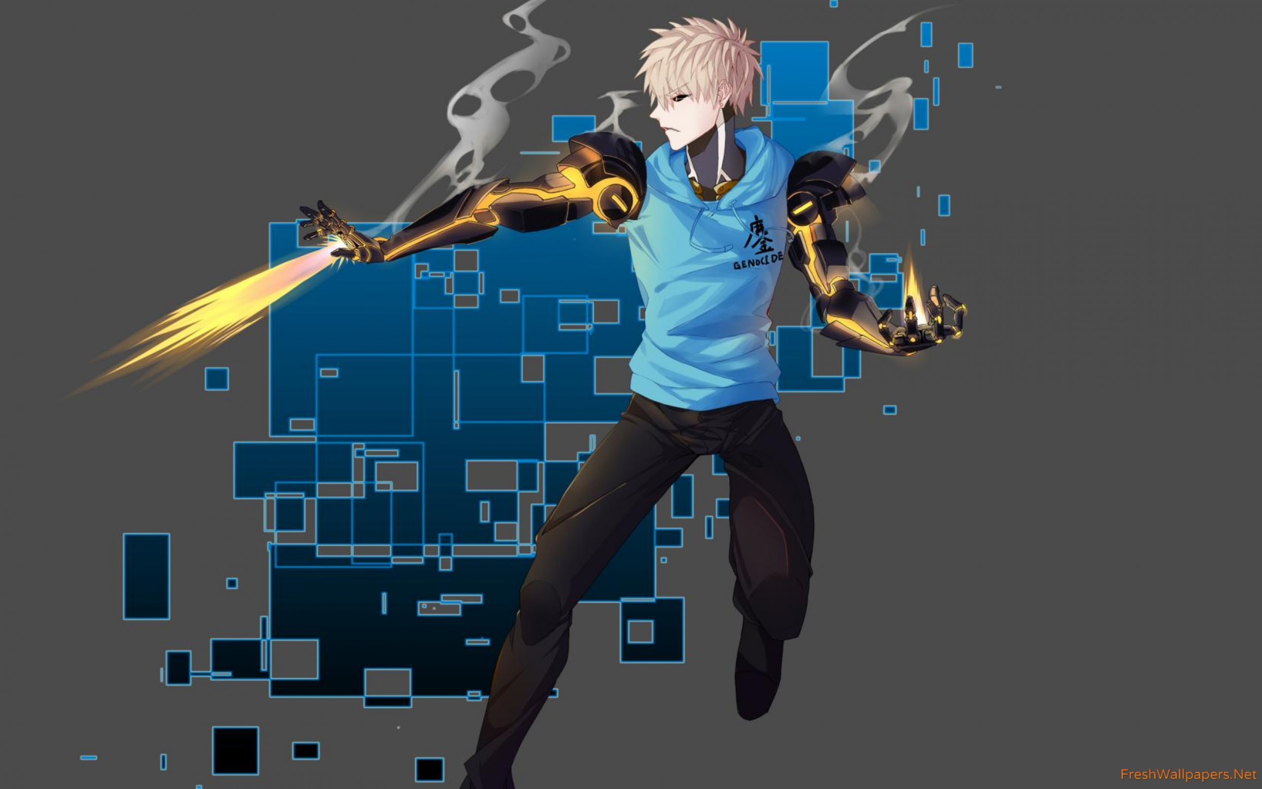 Genos Shooting Fire In One Punch Man Wallpaper One Punch Man
