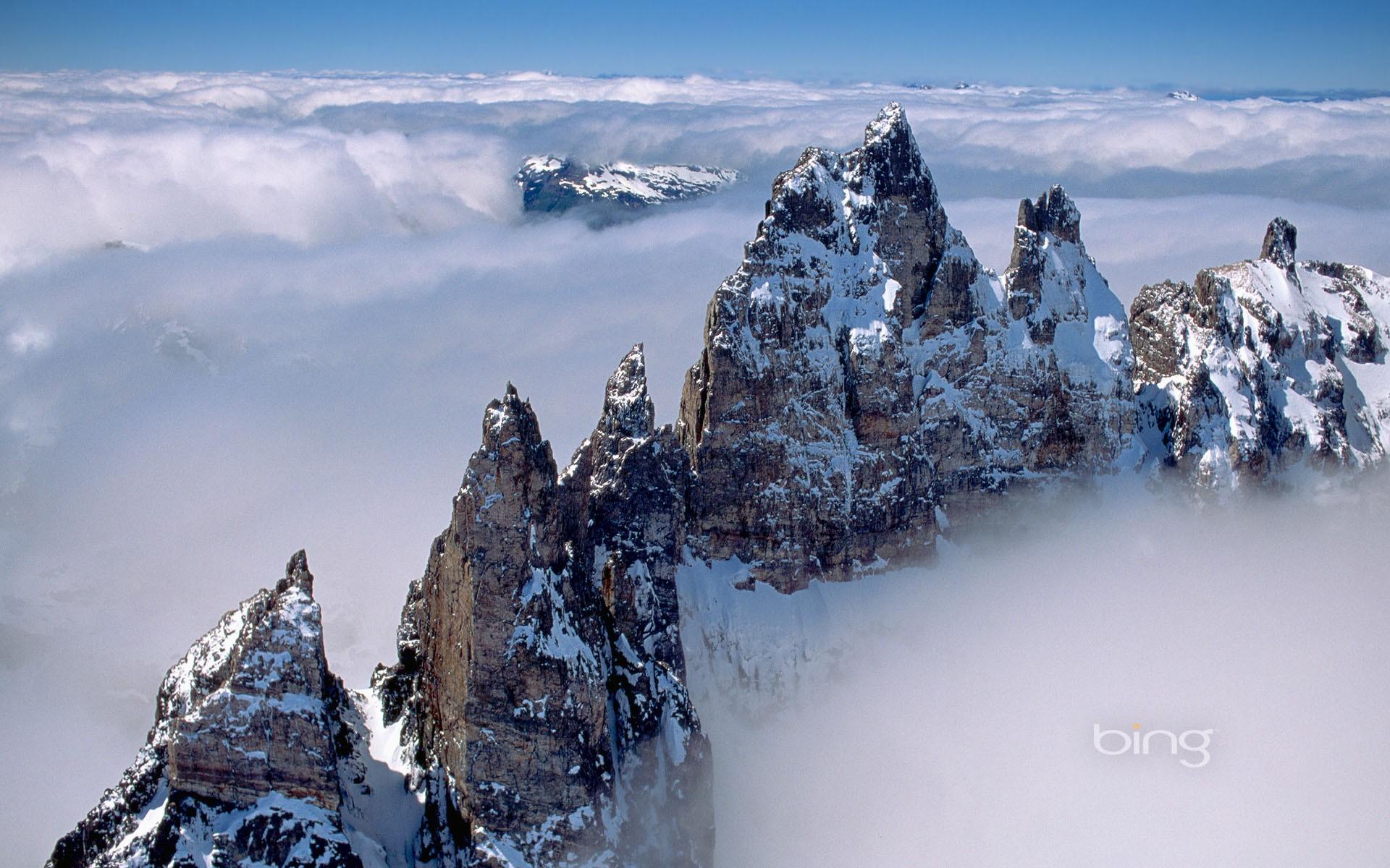 Pictures Download Bing Wallpapers Hd Desktop Wallpapers - Mountain Peaks Above Clouds , HD Wallpaper & Backgrounds