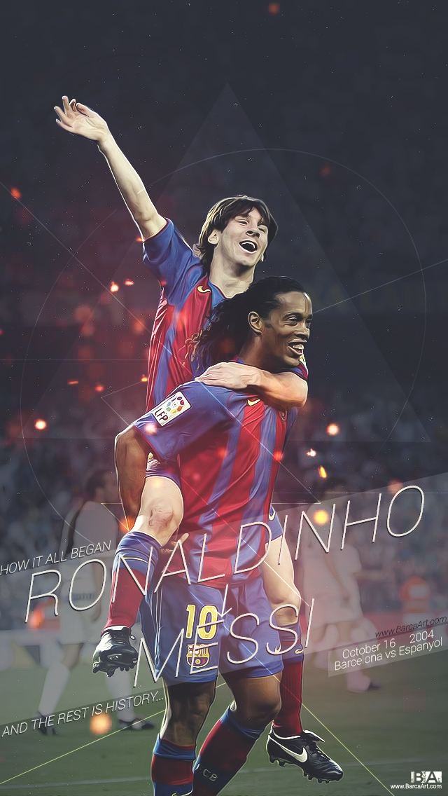 A Wallpaper Showing The Bond Between Messi And Ronaldinho, - Ronaldinho And Messi Wallpaper Hd , HD Wallpaper & Backgrounds