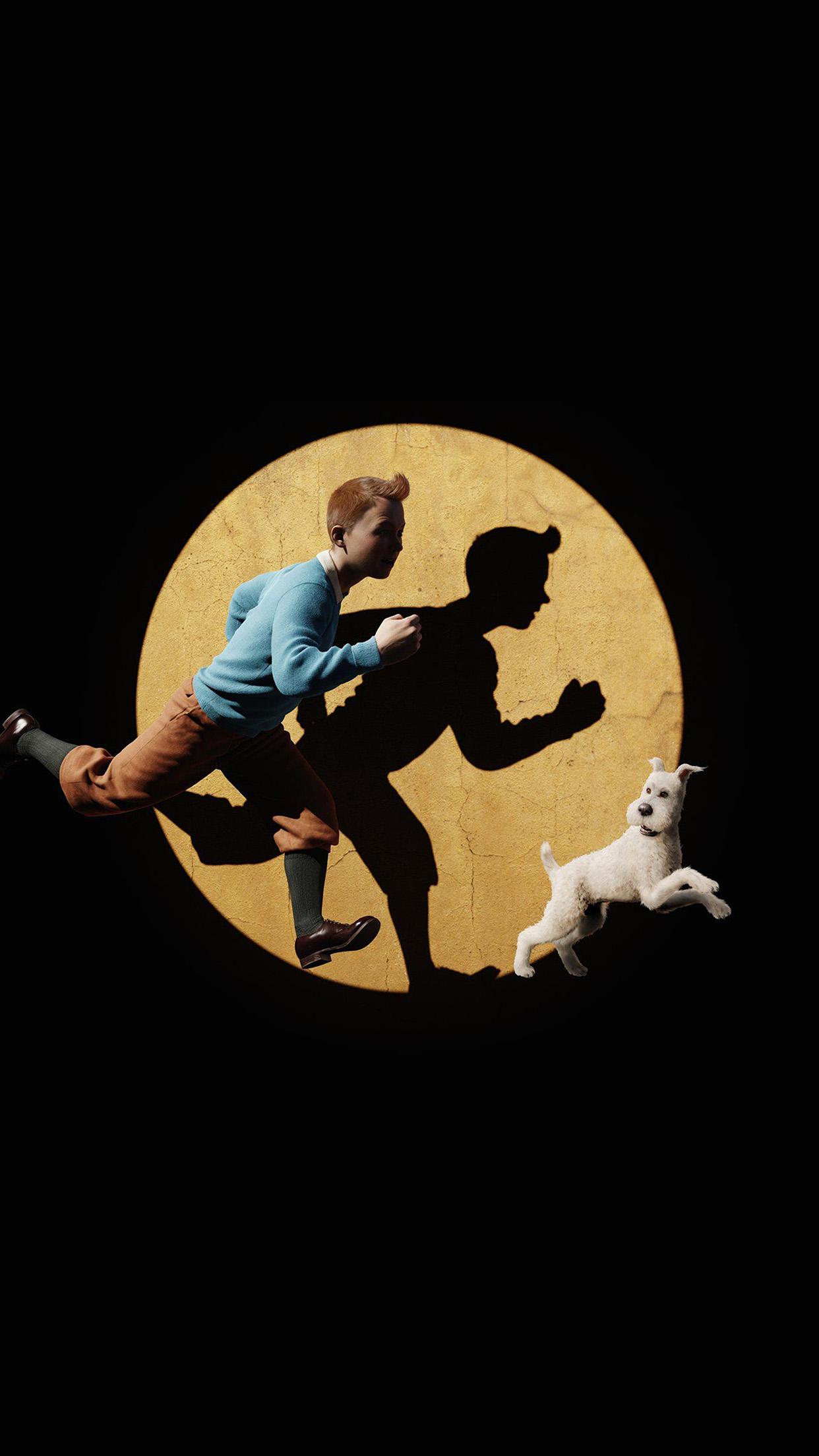 Tintin 3d Art Dark Illustration Android Wallpaper