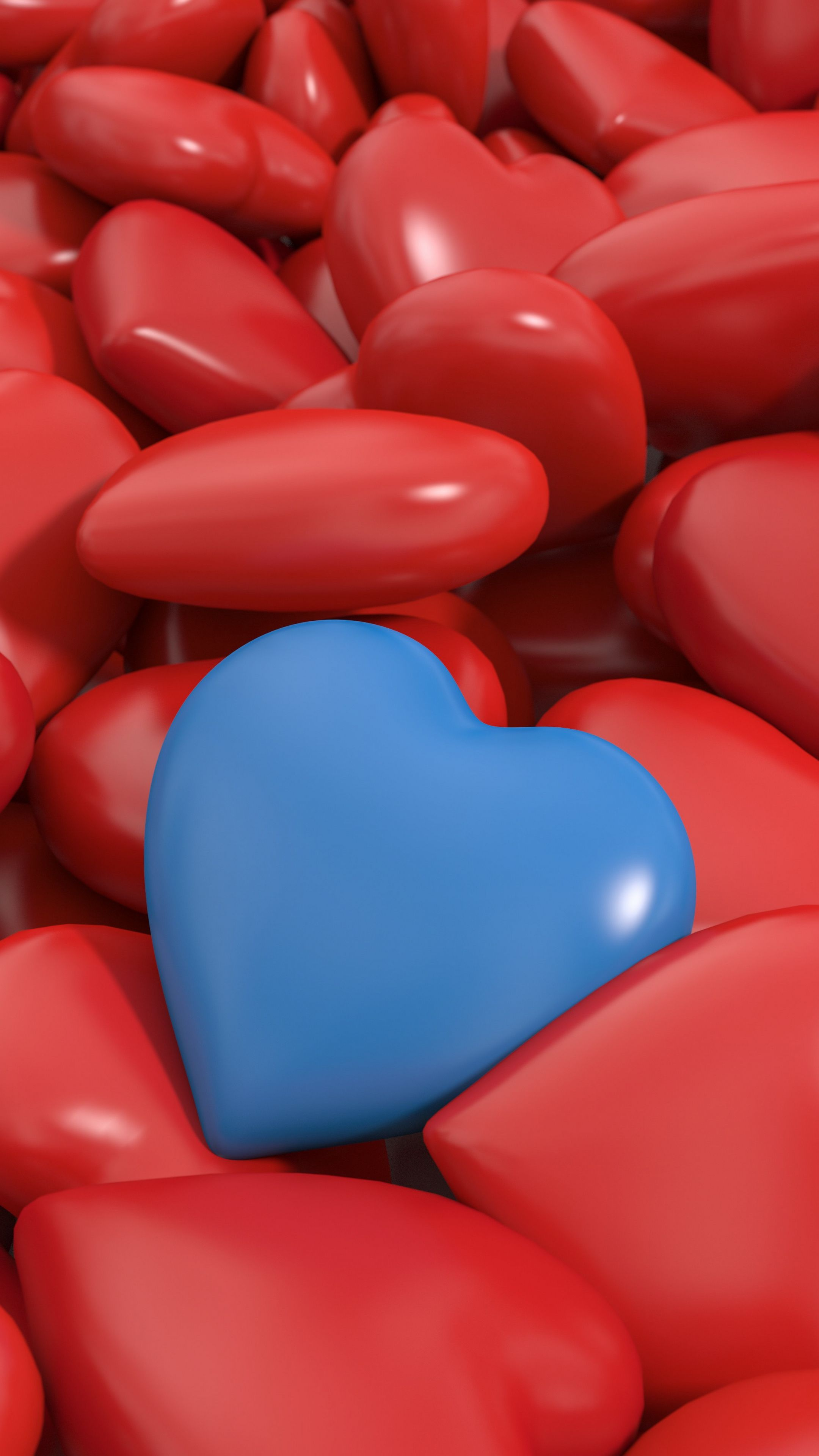 Emotions Heart Red Blue 3d Wallpapers Hd 4k Background Blue