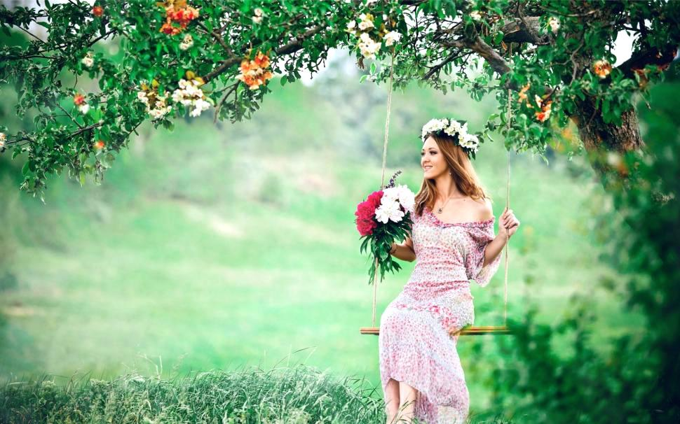 Cute Wallpapers For Girls Cute Images Of Flowers With - Beautiful Girl In Garden , HD Wallpaper & Backgrounds