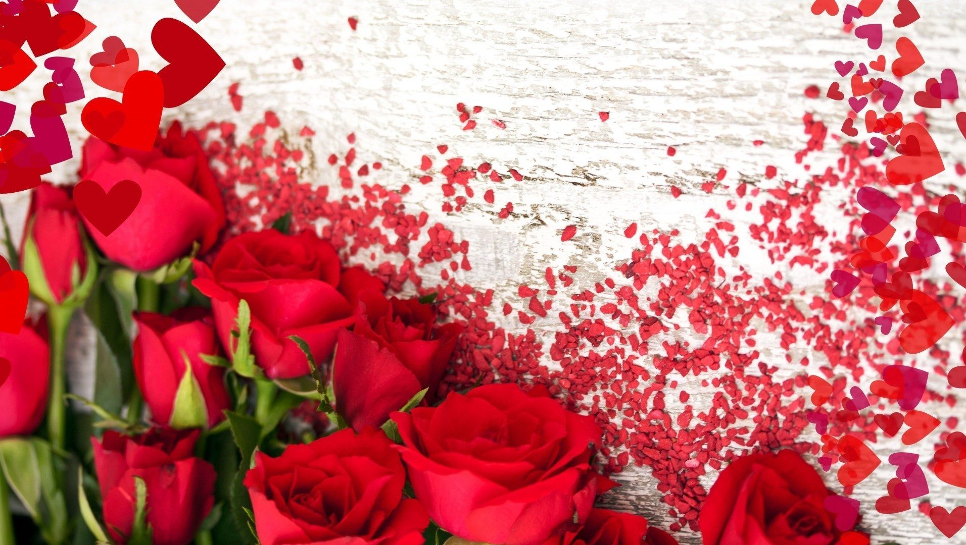 Flower Love Hearts Roses Red Rose Hd Quality 16 9 High - Love Roses And Hearts , HD Wallpaper & Backgrounds