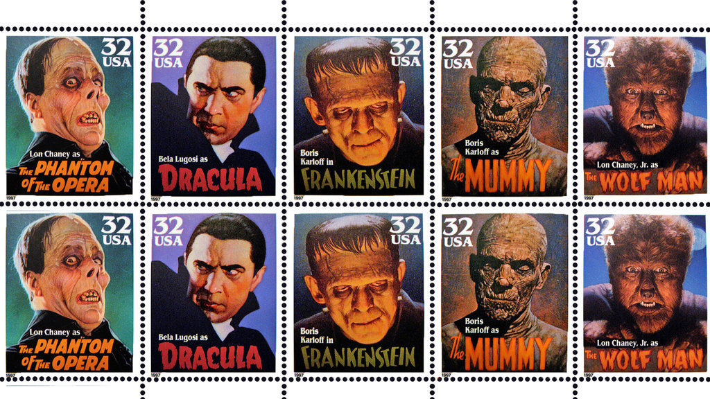 Universal Monsters Stamps By Silverbullet56 D7n852r Universal Monsters 1011864 Hd Wallpaper Backgrounds Download