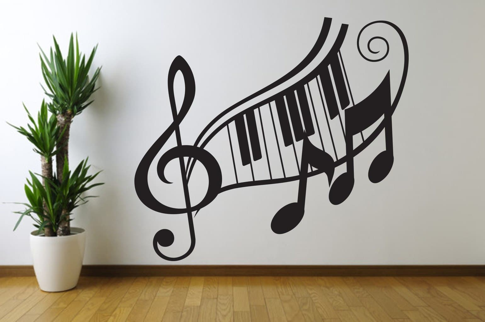 Fresh Music Note Wall Art Treble Clef Decal Wallpaper - Music Notes Wall Art , HD Wallpaper & Backgrounds