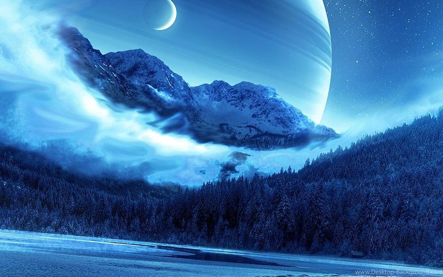 Wallpaper Blue Moon And Galaxy 1020209 Hd Wallpaper Backgrounds Download