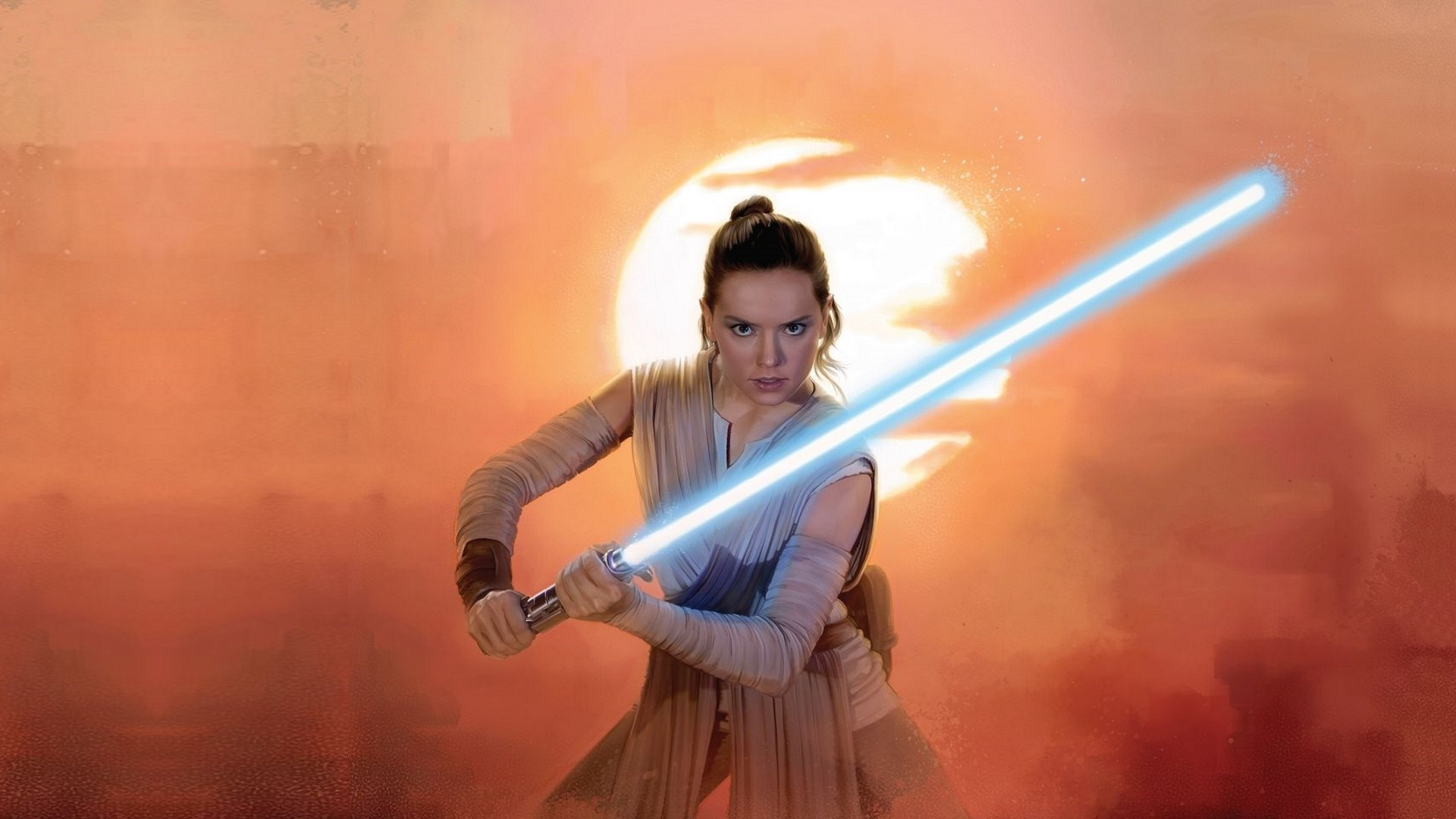 Daisy Ridley Rey Star Wars Lightsaber Jedi Wallpapers