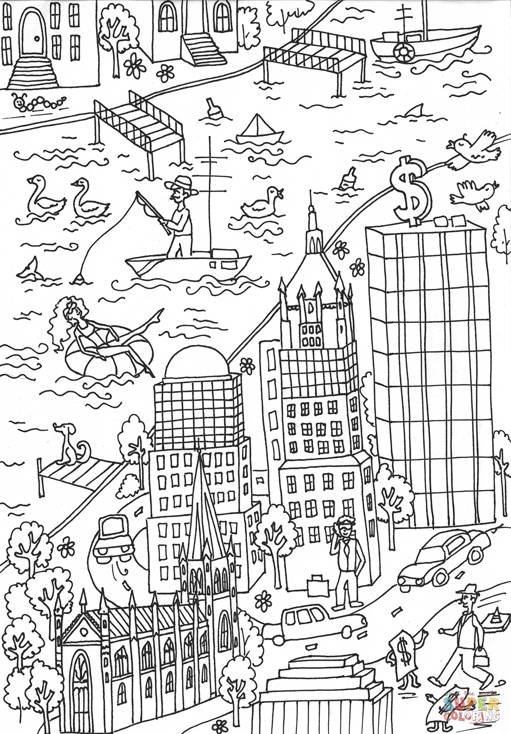 City Buildings coloring page | Free Printable Coloring Pages | 1500x1045