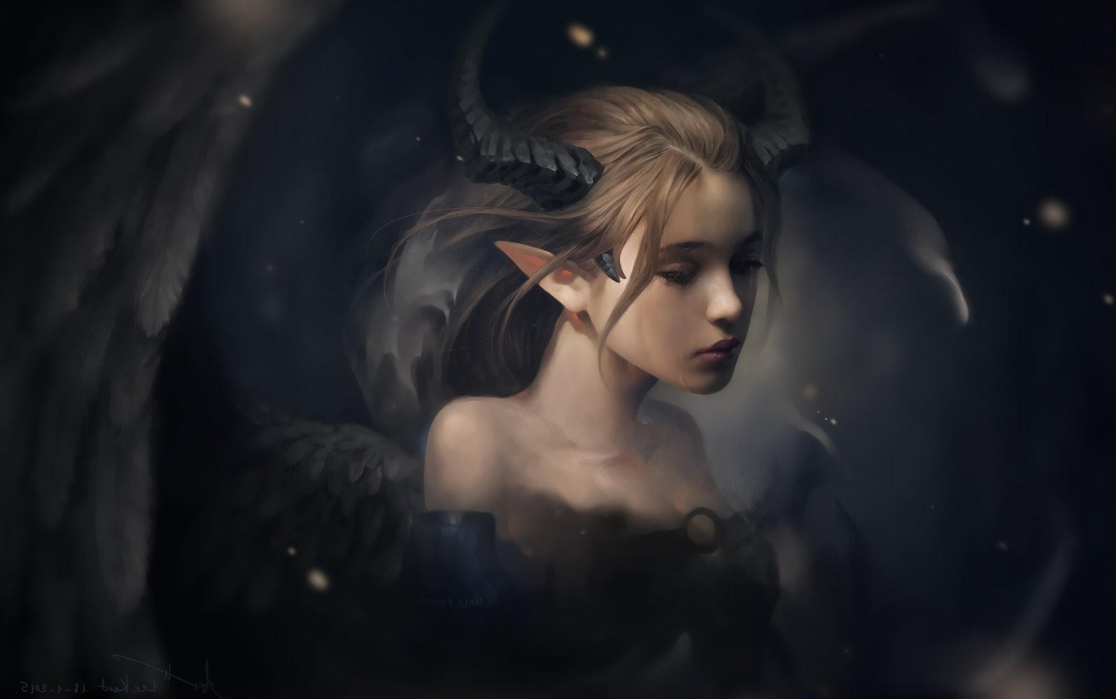 Drawing Fantasy Art Demon Demon Girls Sad Wings Horns