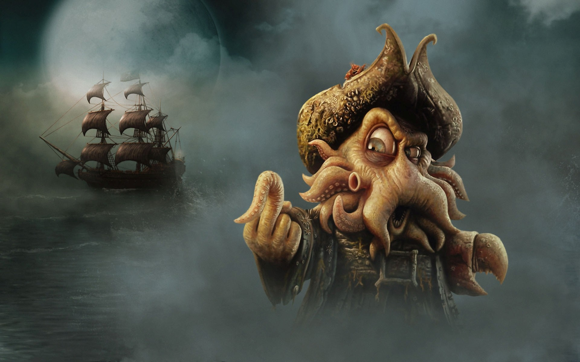 Pirates Of The Caribbean Wallpaper - Pirate Of The Caribbean Monsters , HD Wallpaper & Backgrounds