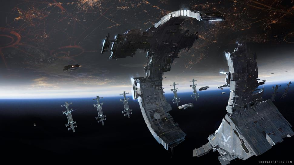 Dreadnought Space Station Wallpaper - Large Space Station Concept Art , HD Wallpaper & Backgrounds