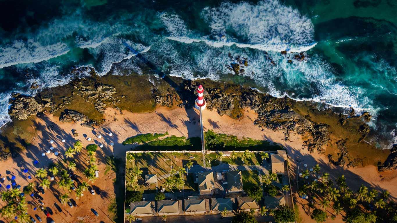 Itapuã Lighthouse In Salvador Bahia Brazil Aerial