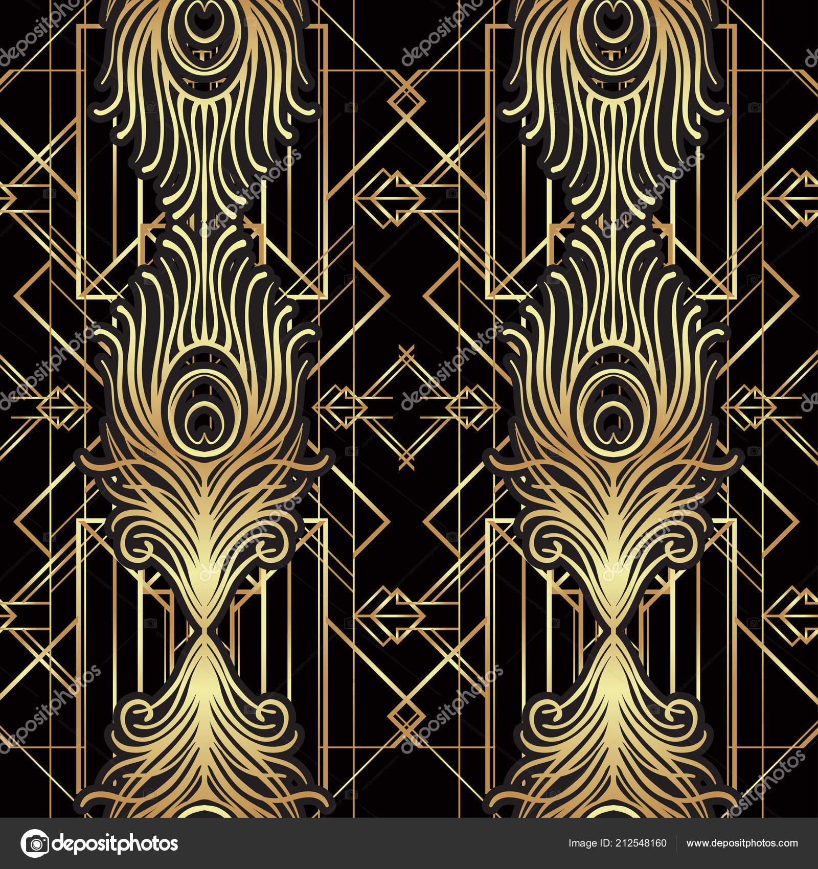 Roaring 1920's Design - Black And Gold Art Deco Designs , HD Wallpaper & Backgrounds