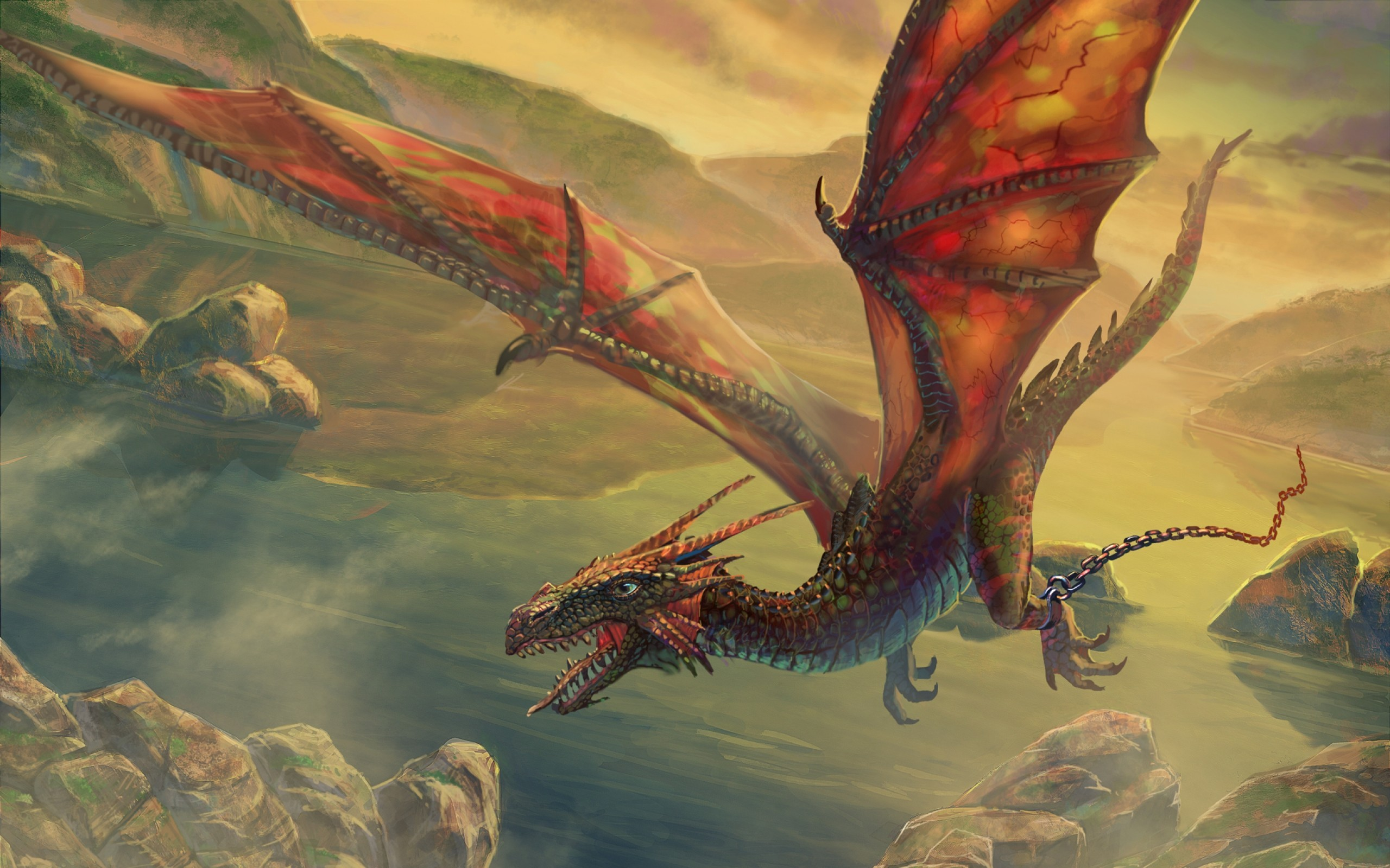 Wings Dragons Flying Escape Vector Skyscapes Dragons