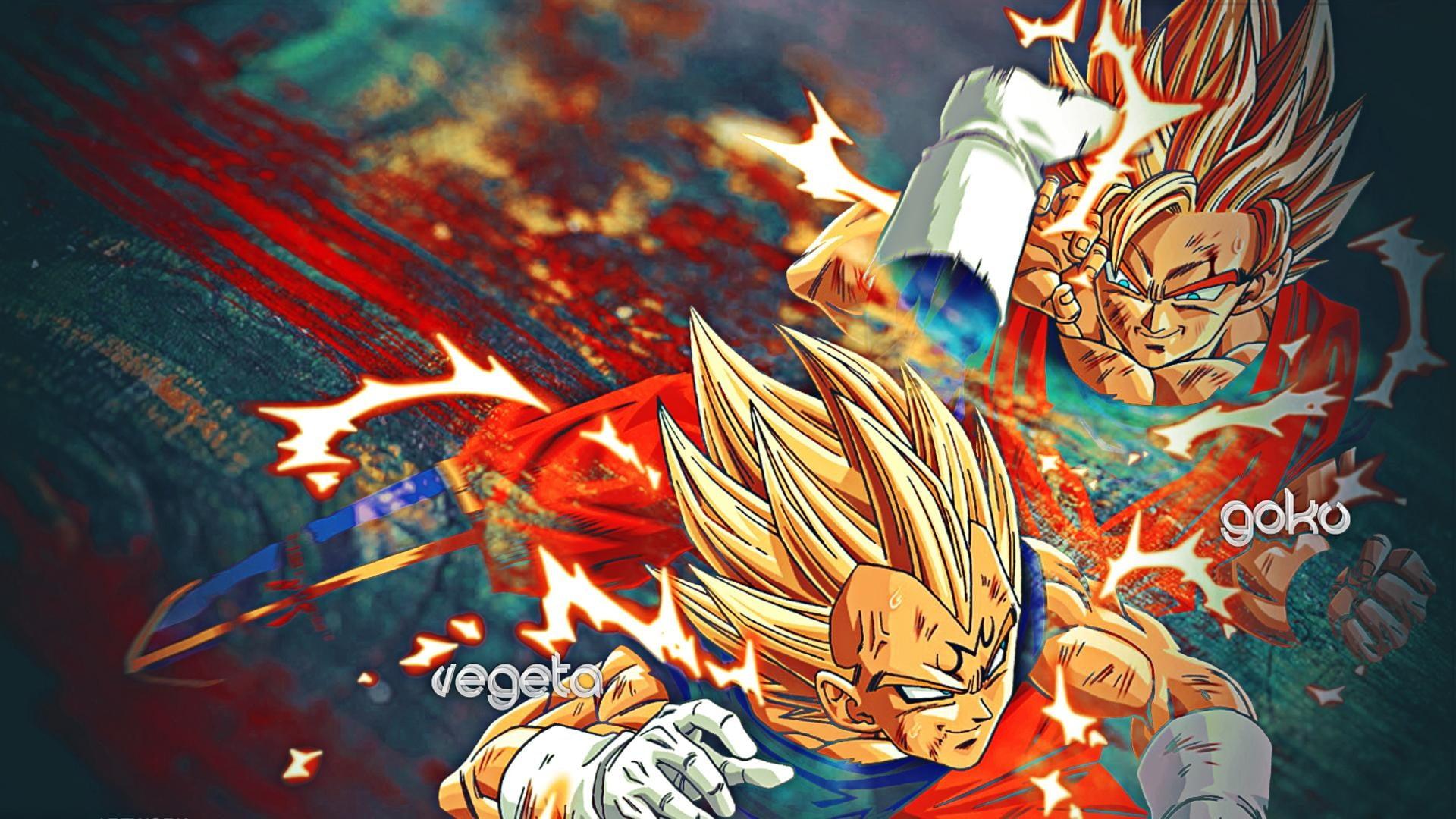 Son Goku And Vegeta Illustration Hd Wallpaper Dragonball Z Wallpaper Hd 1058721 Hd Wallpaper Backgrounds Download