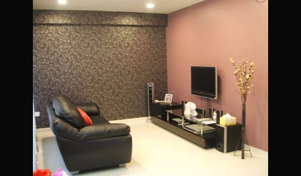 Pastel Wallpaper Living Room With Wall Mounted Tv Unit - Best Paint On Walls , HD Wallpaper & Backgrounds
