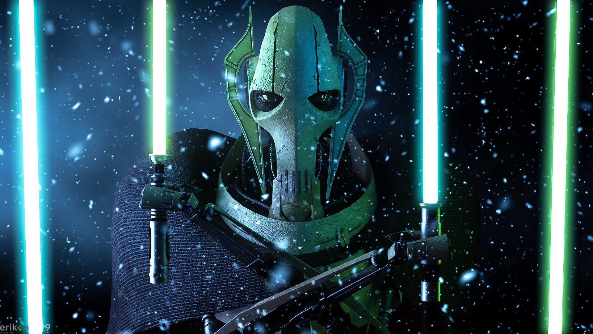 General Grievous Yellow Eyes Close Up Blue Lightsaber