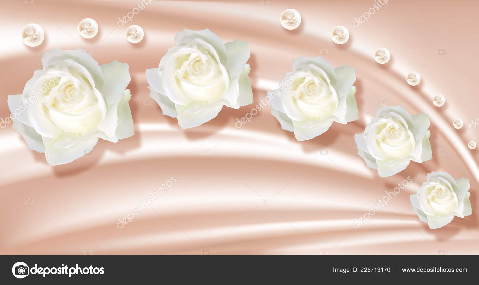 3d Wallpaper,roses And Pearls On Silk Background - Silk , HD Wallpaper & Backgrounds