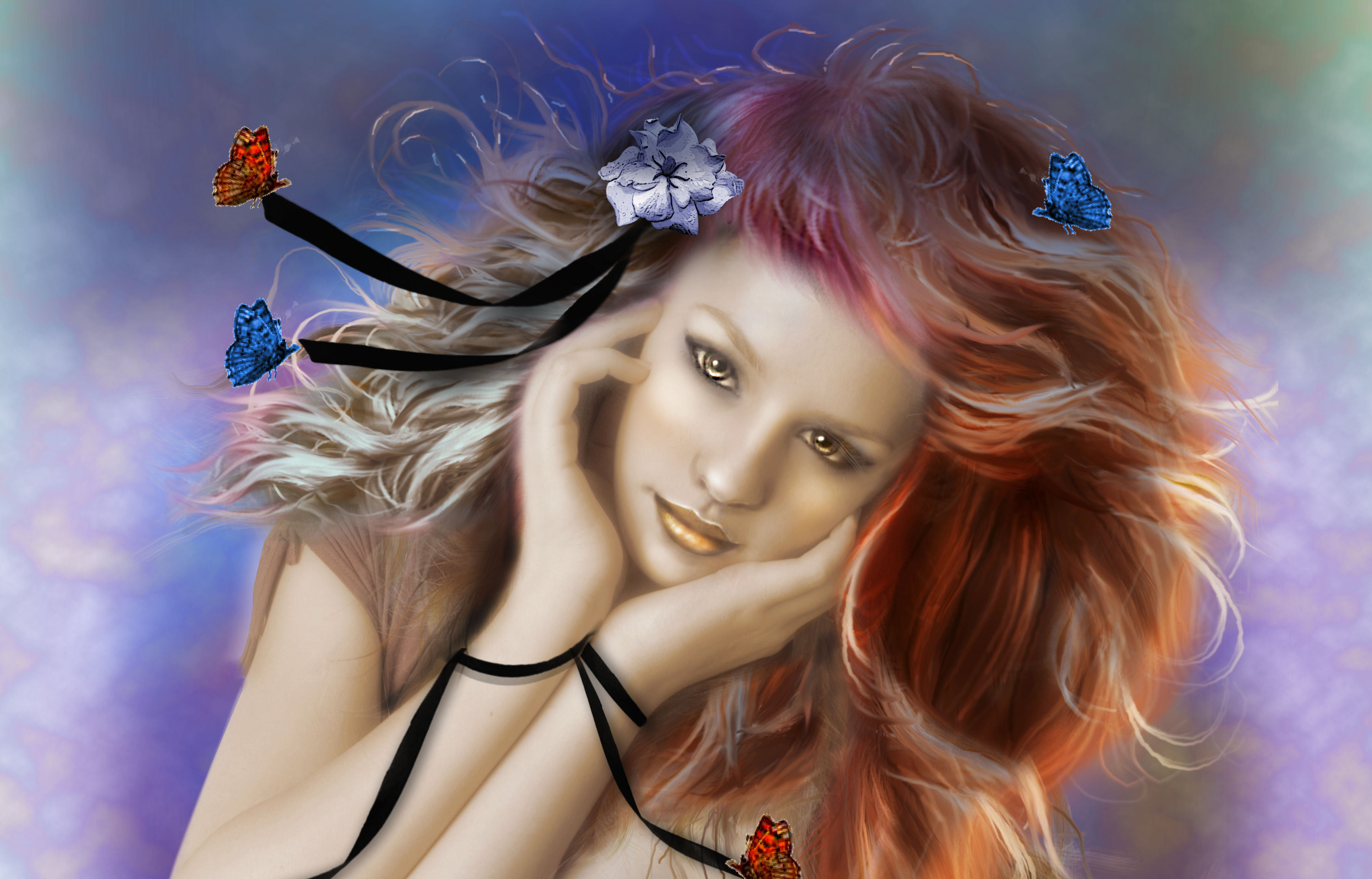 #butterflies, #girl, #butterfly, #ribbons, #hair, # - Painting Of Butterfly Woman , HD Wallpaper & Backgrounds