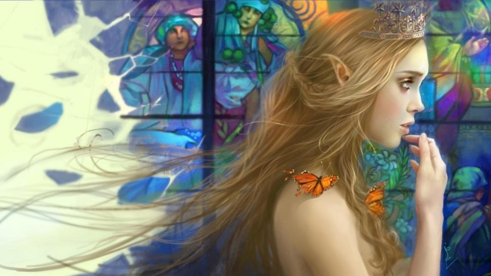 Butterflies Hd Wallpaper Elf Girl Wallpaper - Elf , HD Wallpaper & Backgrounds