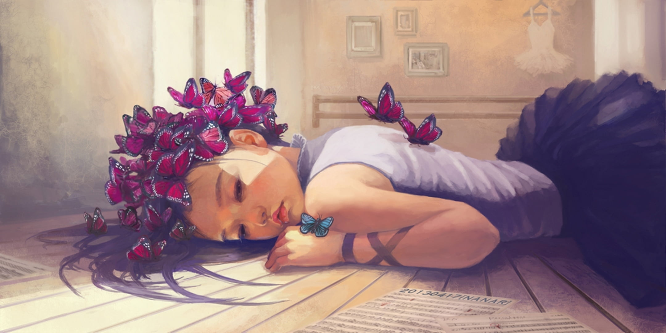 Girl Lying On Floor Painting, Butterfly, Notes, Dress, - Little Girl And Butterflies , HD Wallpaper & Backgrounds