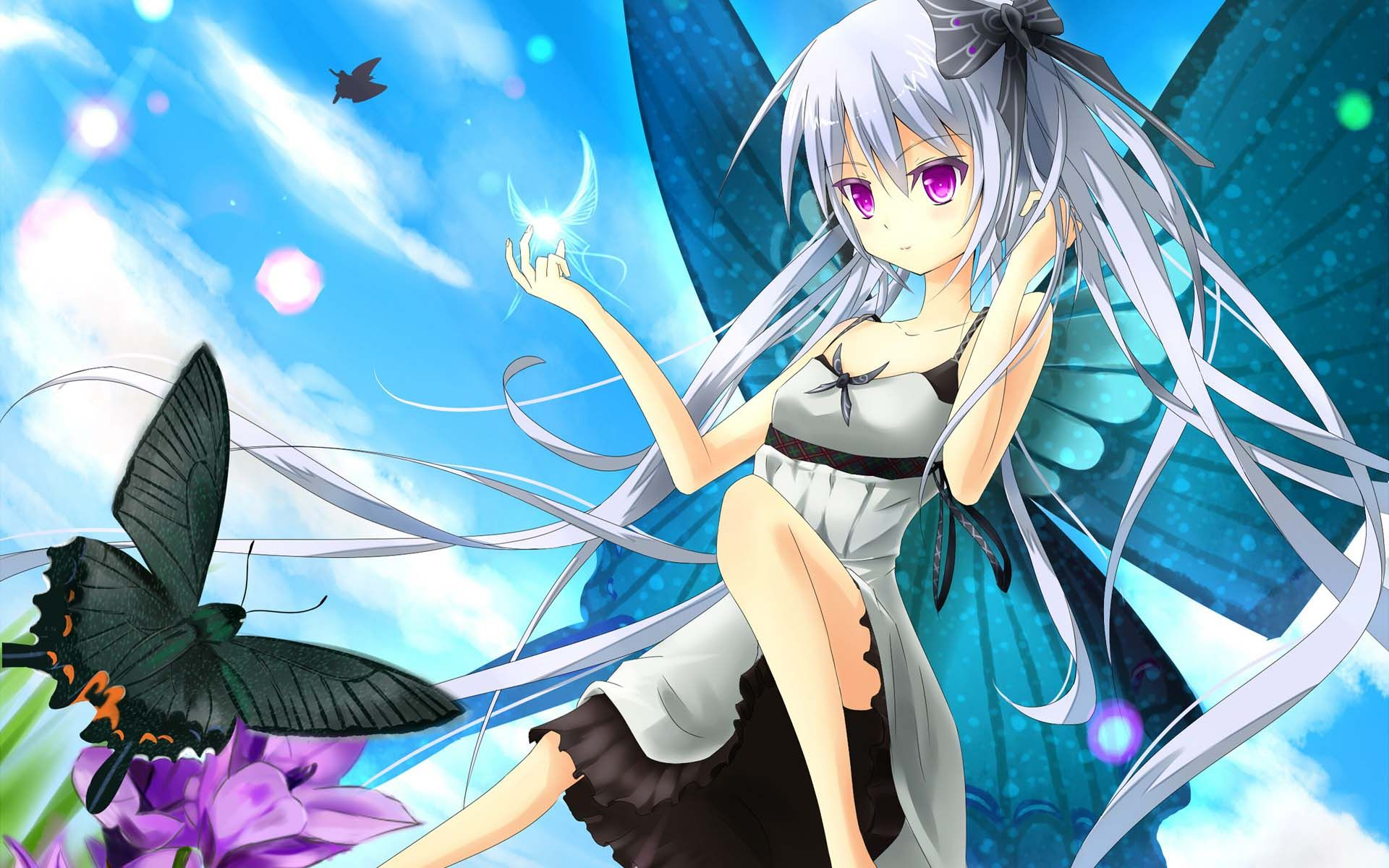 Girl Playing With A Butterfly - Anime Girl With Fairy Wings , HD Wallpaper & Backgrounds