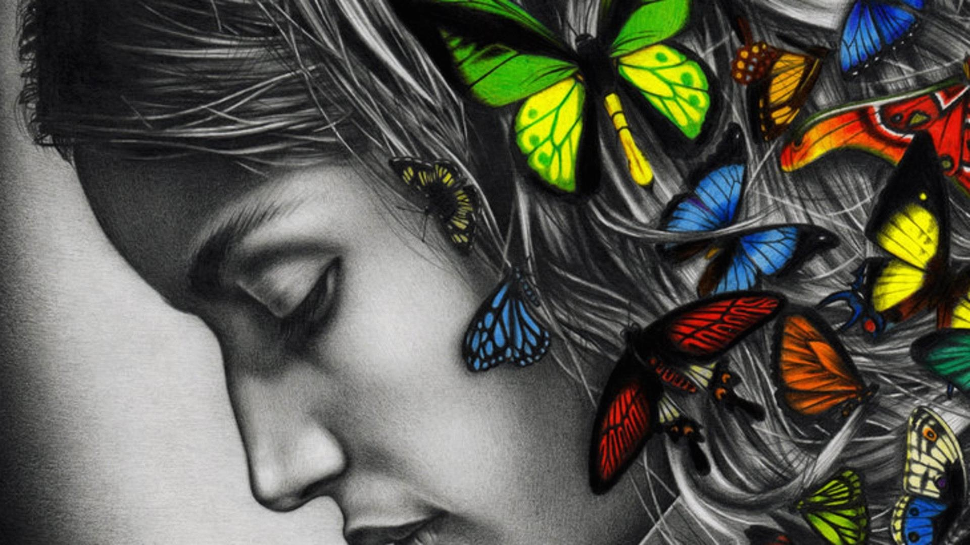 Girl With Butterflies In Hair , HD Wallpaper & Backgrounds