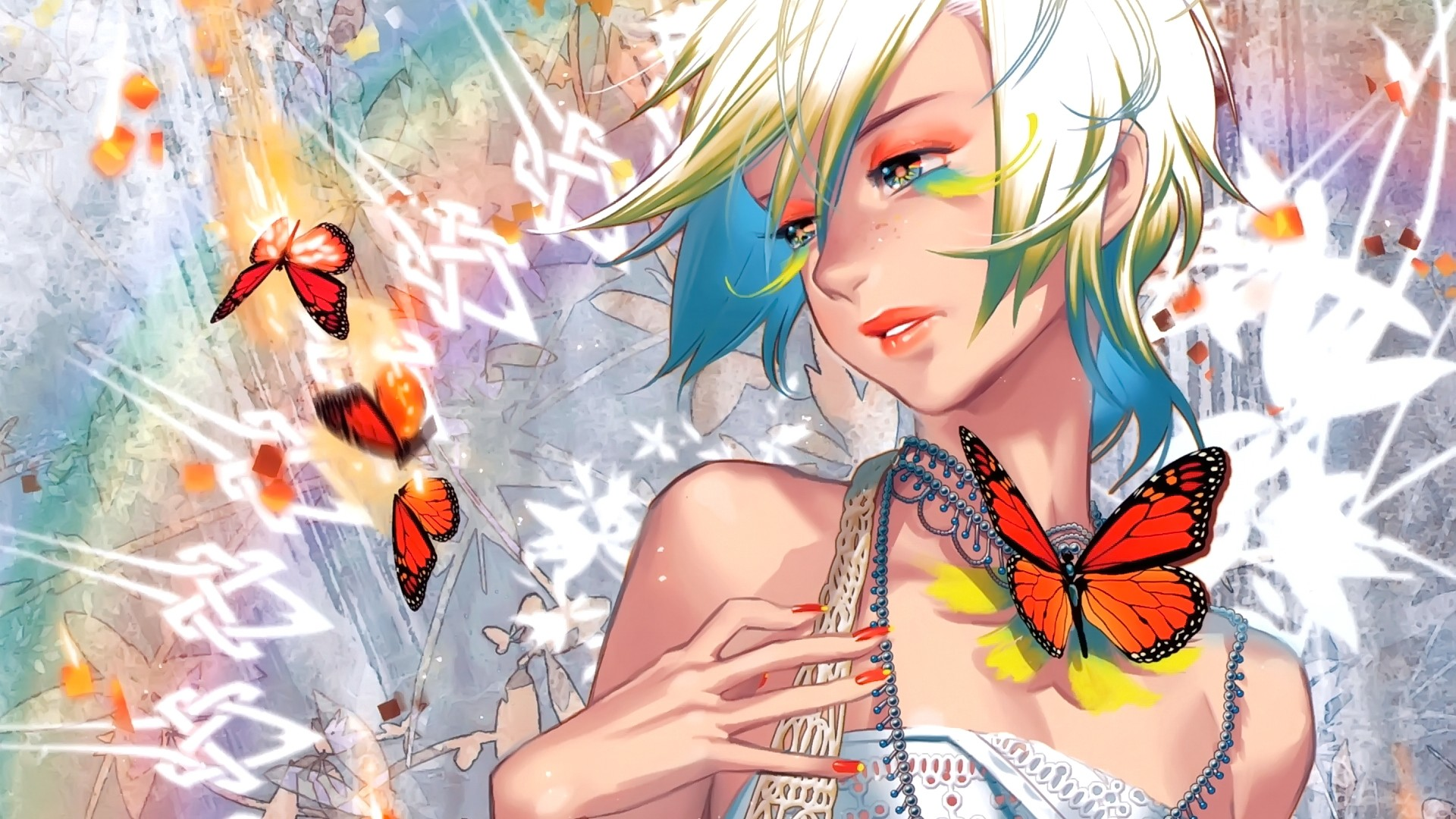 #short Hair, #anime Girls, #anime, #butterfly, #looking - Butterfly Anime , HD Wallpaper & Backgrounds