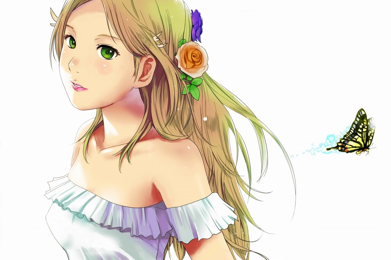 Blondes White Flowers Butterfly Green Eyes Photoshop - Anime The Golden Ratio , HD Wallpaper & Backgrounds