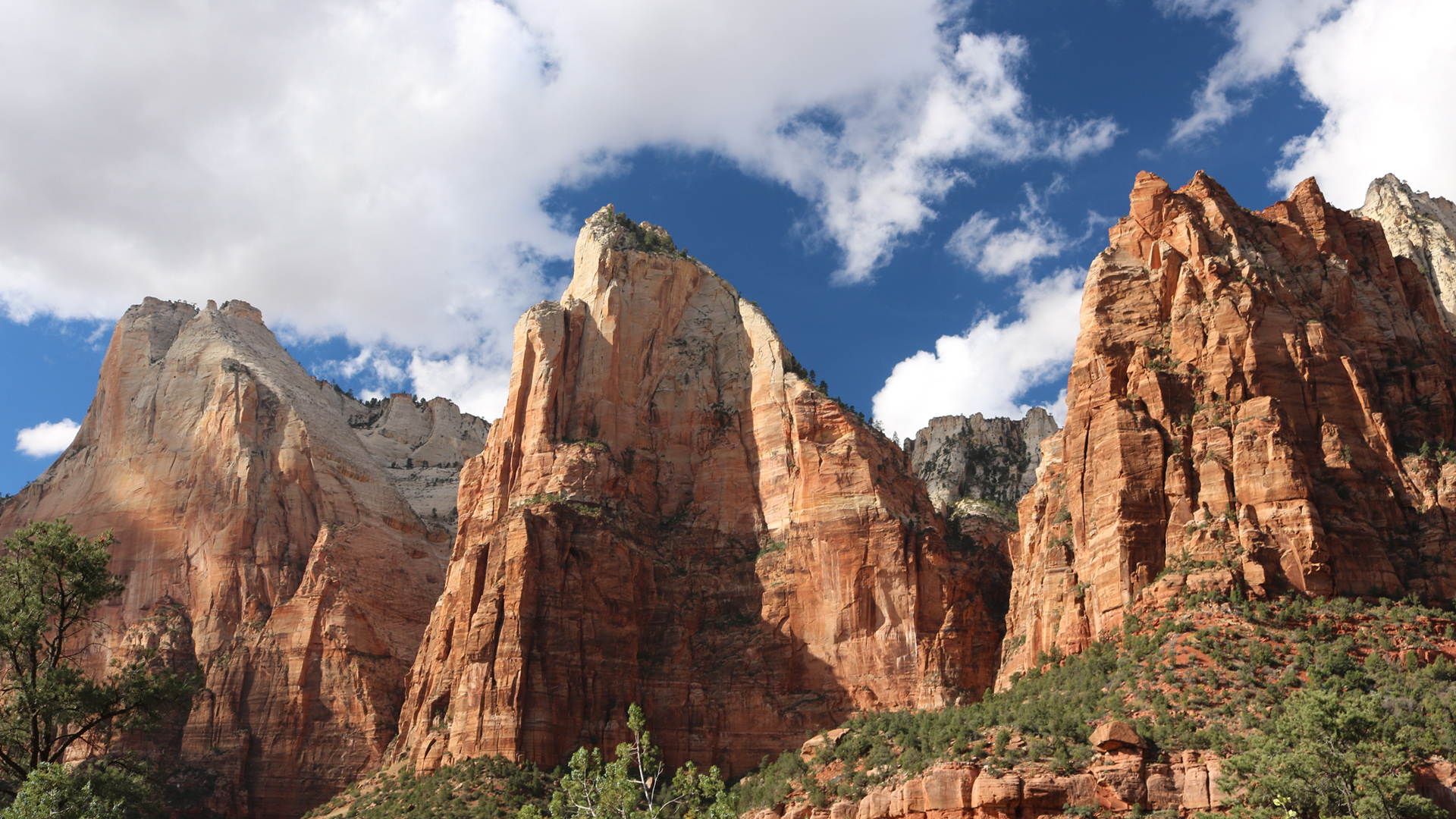 Zion National Park The Three Patriarchs 1074690 Hd Wallpaper