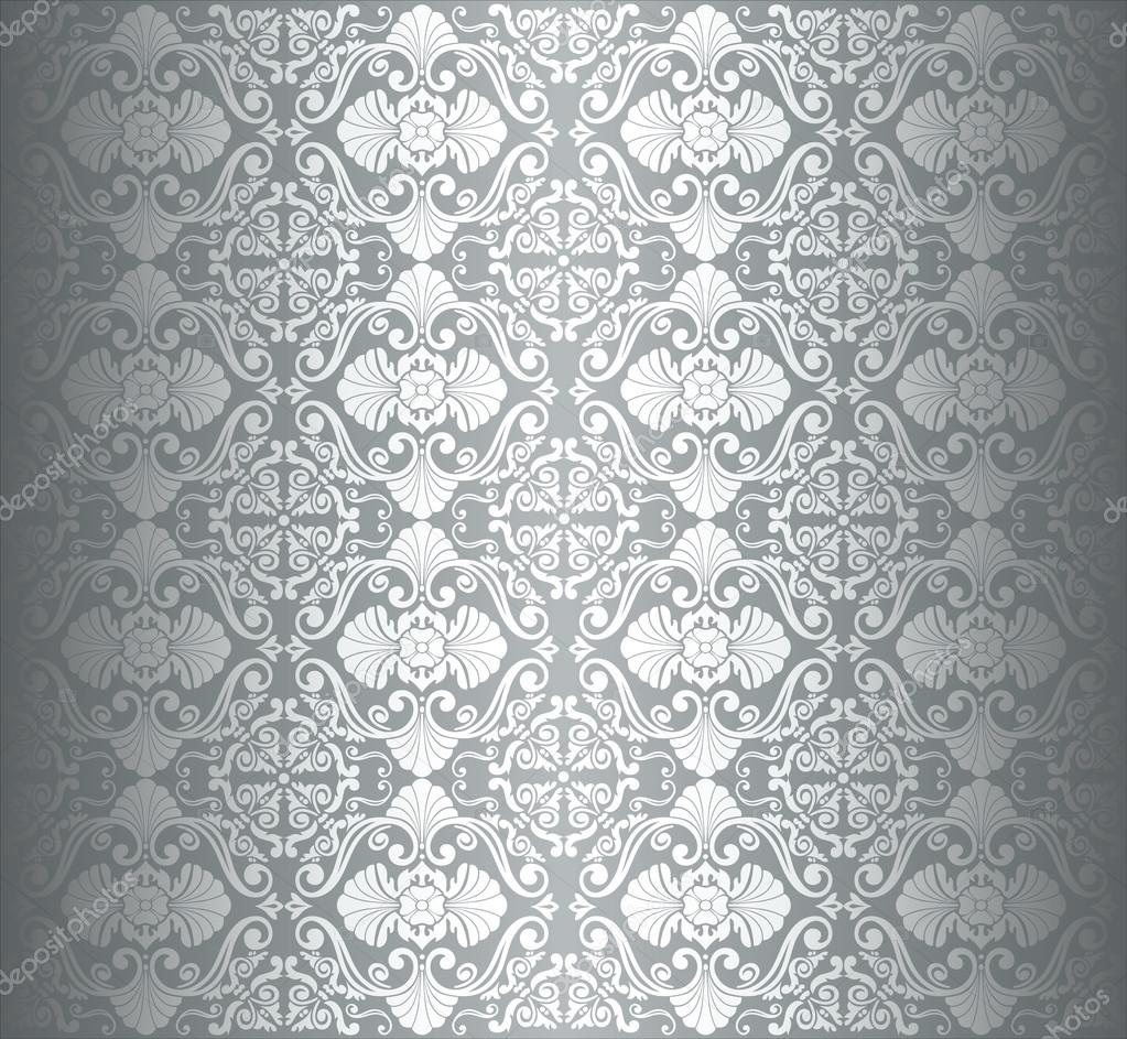 Silver Luxury Vintage Wallpaper Stock Vector Elegant Silver