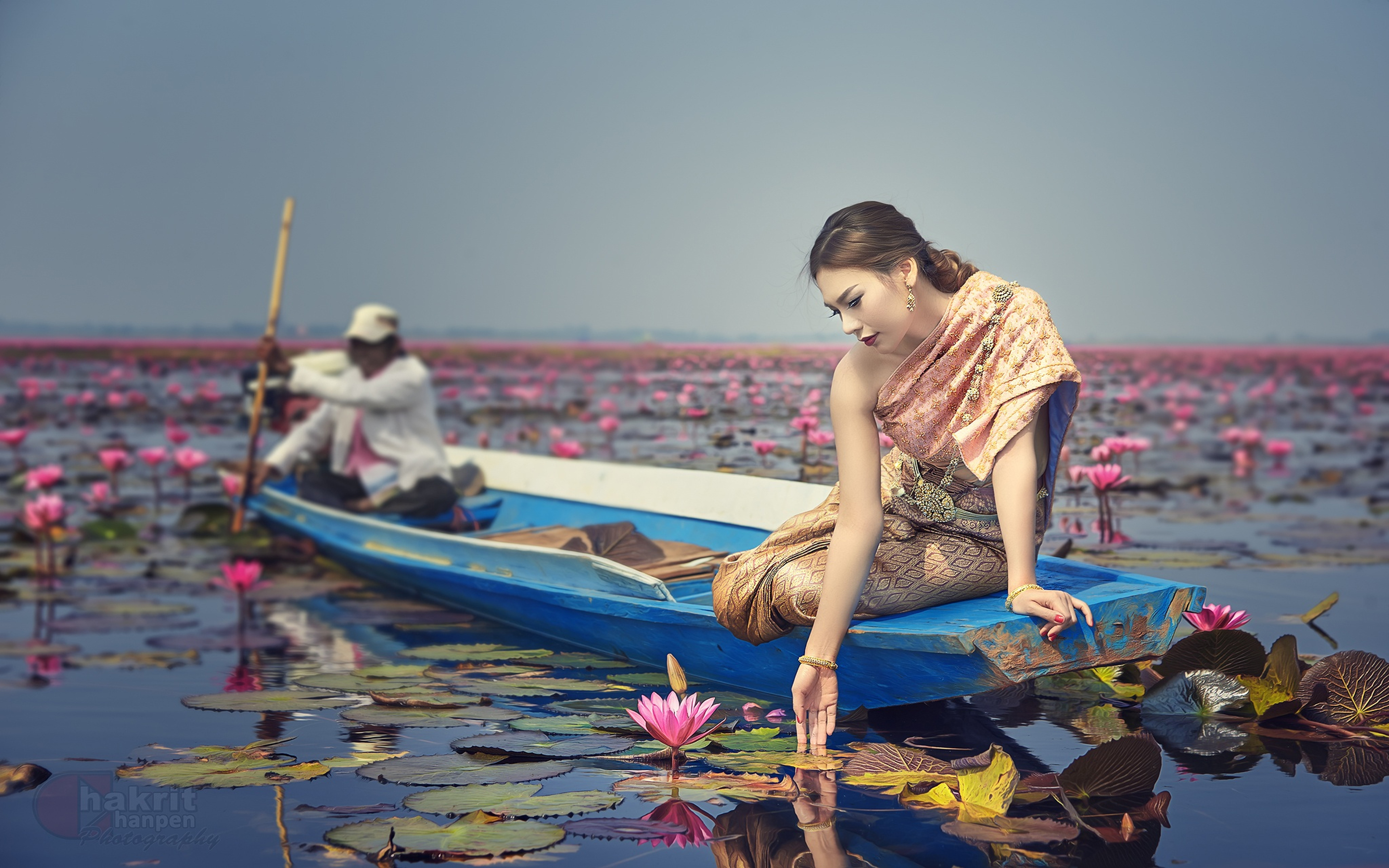 Download Original Resolution - Lotus Flower With Girls , HD Wallpaper & Backgrounds