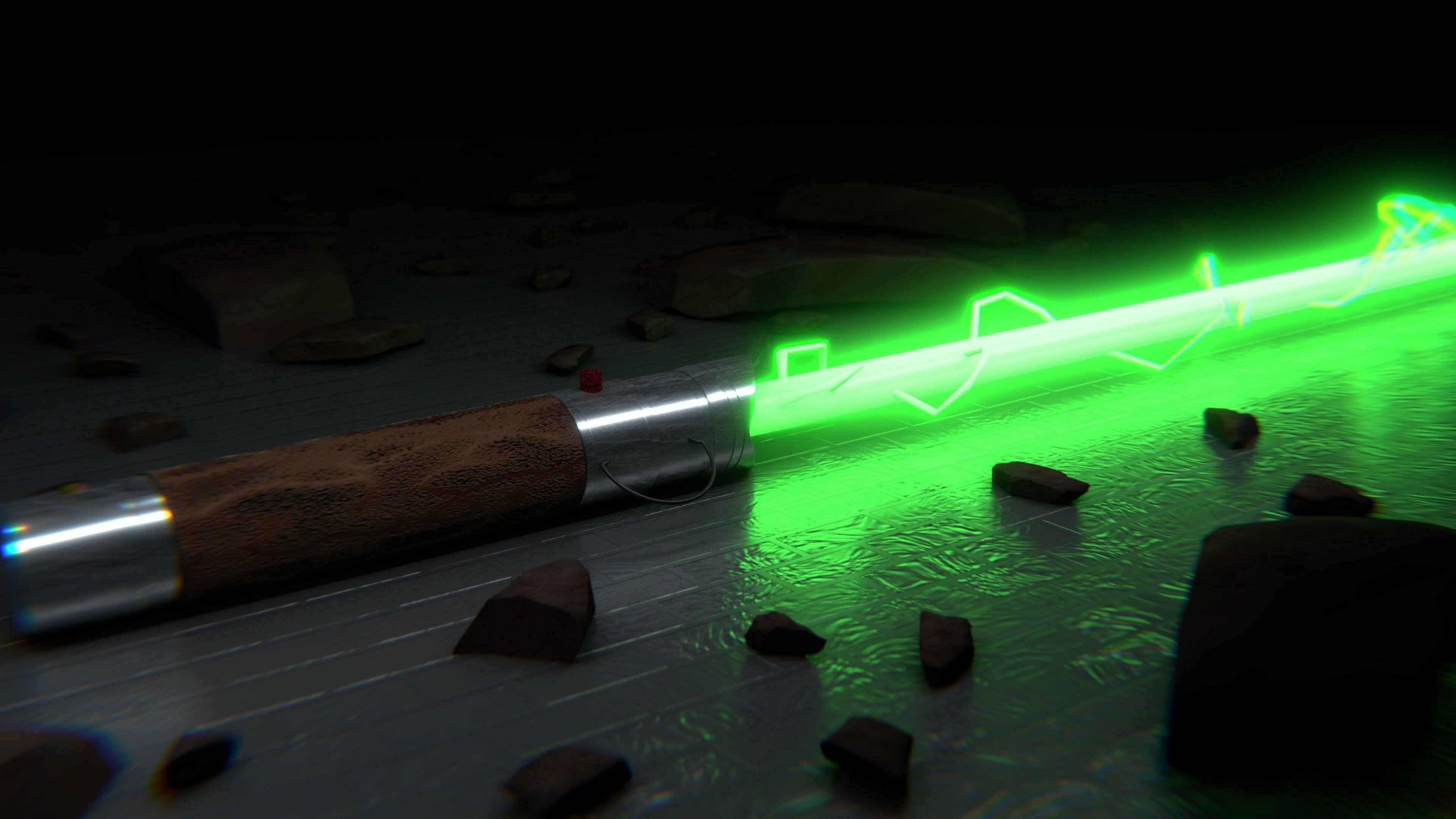 Star Wars Green Lightsaber 4k Uhd Wallpaper - Star Wars Green Lightsaber , HD Wallpaper & Backgrounds