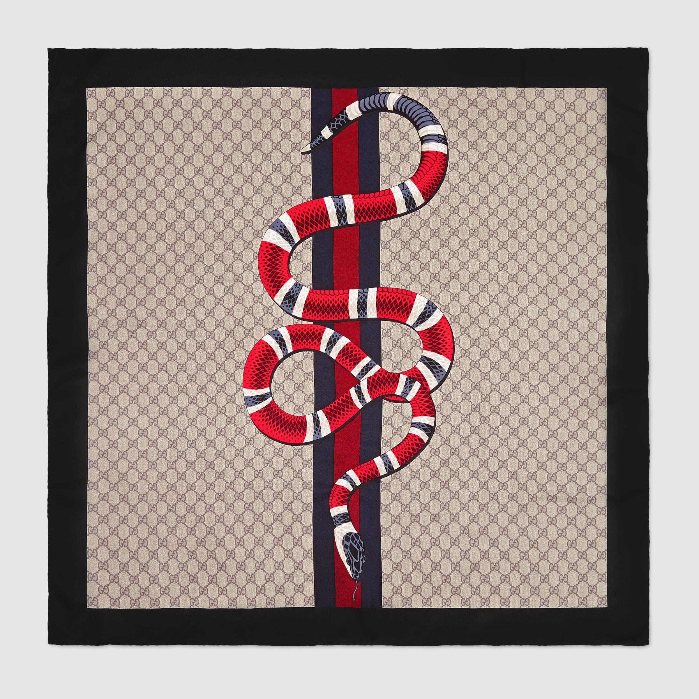 Web And Kingsnake Print Gg Silk Scarf , Gucci Snake Print