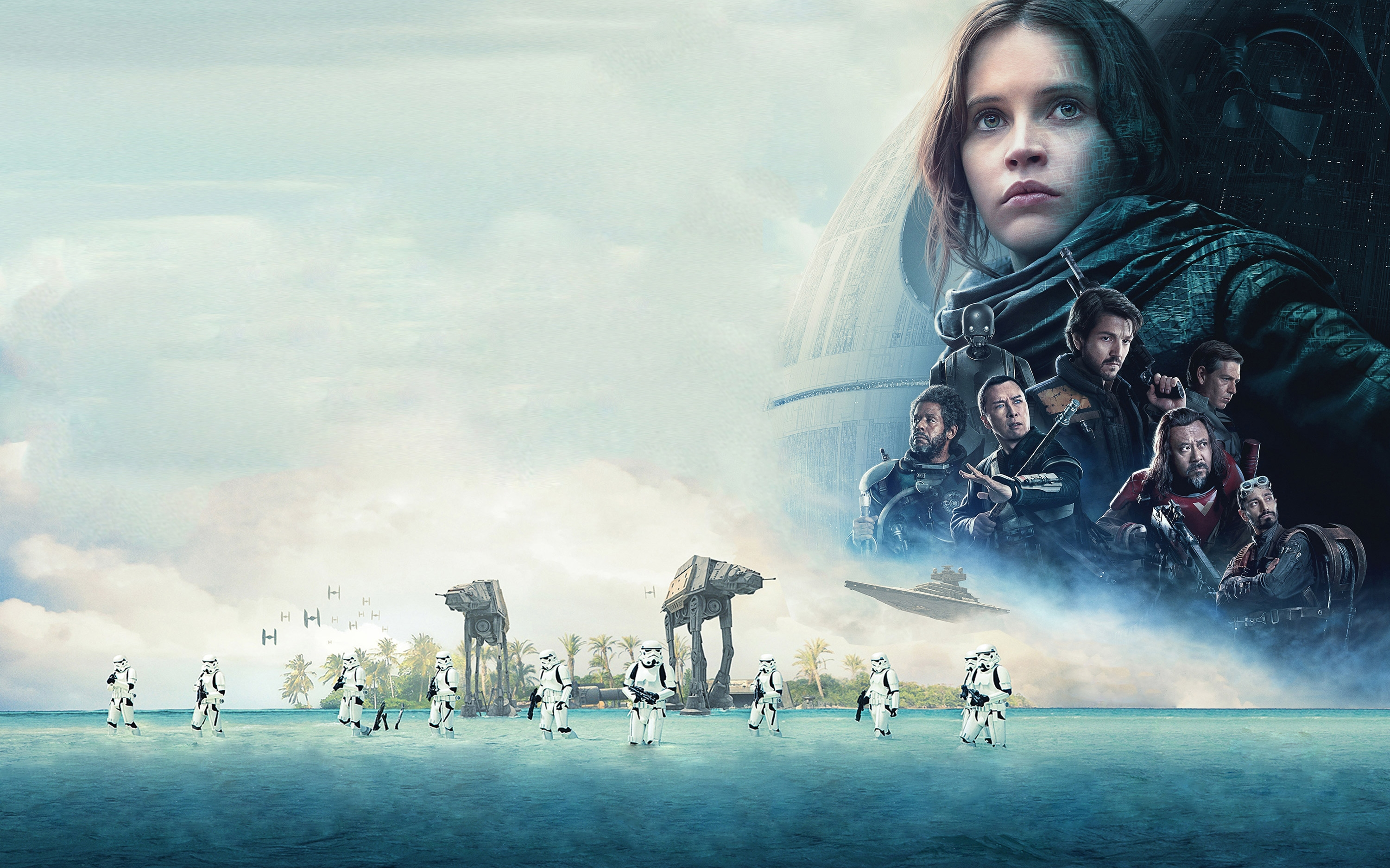 A Star Wars Story, Donnie Yen, Felicity Jones, Stormtroopers - Solo A Star Wars Story , HD Wallpaper & Backgrounds