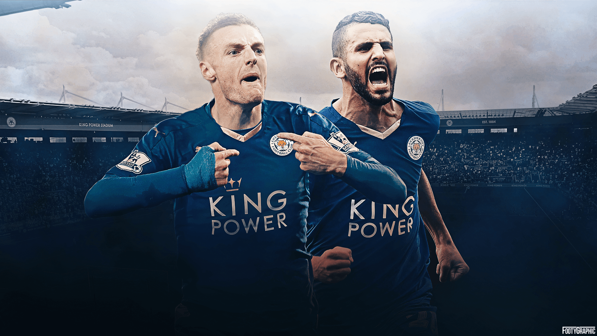 Hd Wallpaper Of Jamie Vardy And Riyad Mahrez In Leicester - Leicester City , HD Wallpaper & Backgrounds