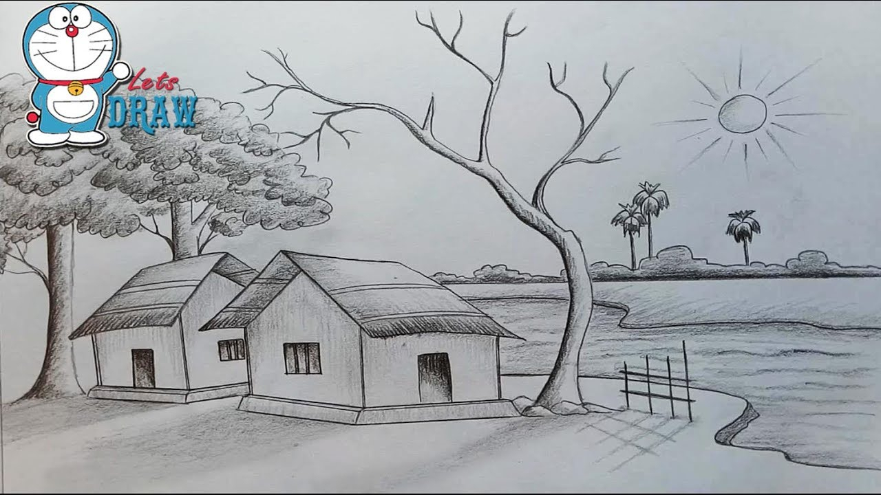 Best Sceneries For Drawing Best Drawing Scenery Pencil