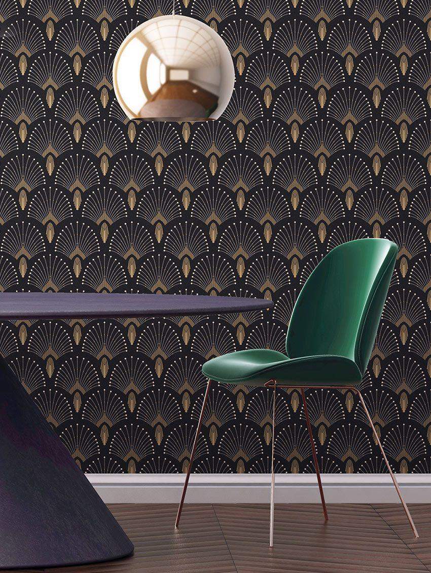 Art Deco Patterned Wallpaper - Art Deco Interior , HD Wallpaper & Backgrounds